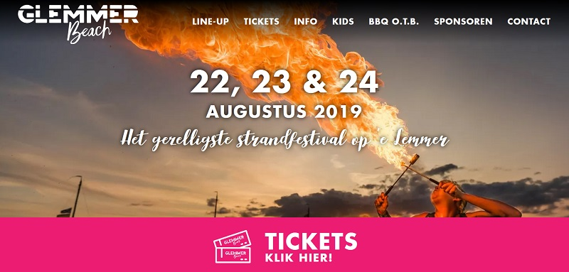 22 t/m 24 augustus 2019 Glemmer Beach Festival