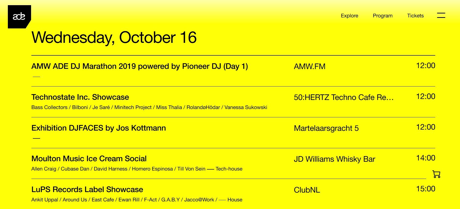 16 t/m 20 oktober 2019 ADE - Amsterdam Dance Event